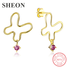 SHEON New Arrival 925 Sterling Silver Simple Butterfly Light Luxury Stud Earrings for Women Jewelry Mothers Day