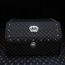 Emperor Crown Style Car Plaid Leather Bag, Large Capacity Organizer