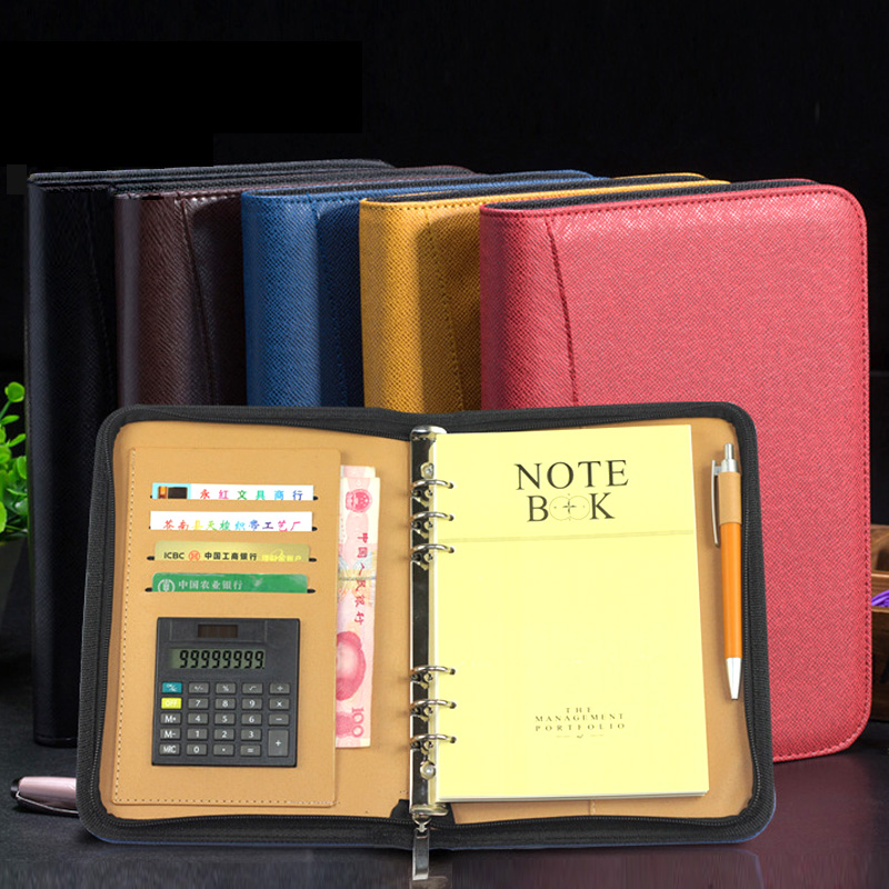 manager spiral PU leather zipper notebook and journals filofax agenda calculator pen holder portfolio organizer planner A5 A6