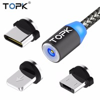TOPK R-Line1 LED Magnetic USB Cable , Magnet Plug & USB Type C Cable & Micro USB Cable & USB Cable for Samsung Xiaomi Huawei LG