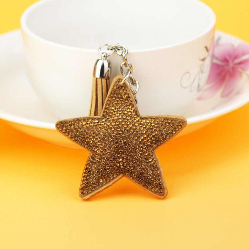Novo cristal strass estrela chaveiro novidade lembrança presentes chaveiro chaveiro pendurado saco encantos estrela pingente tz53