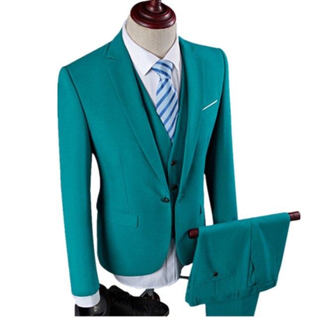 Новый мужской досуг однобортный костюмы Комплект из 3 предметов/человека чистый цвет деловой костюм куртка блейзеры пальто + жилет + Штаны