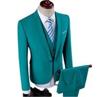 New Men Leisure Single Breasted Suits 3 Pieces Sets Man S Pure Color Business Suit Jacket
