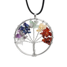 7 Chakra Tree Of Life Pendant Necklace Copper Crystal Natural Stone Quartz Stones Pendants Women Christmas Gifts