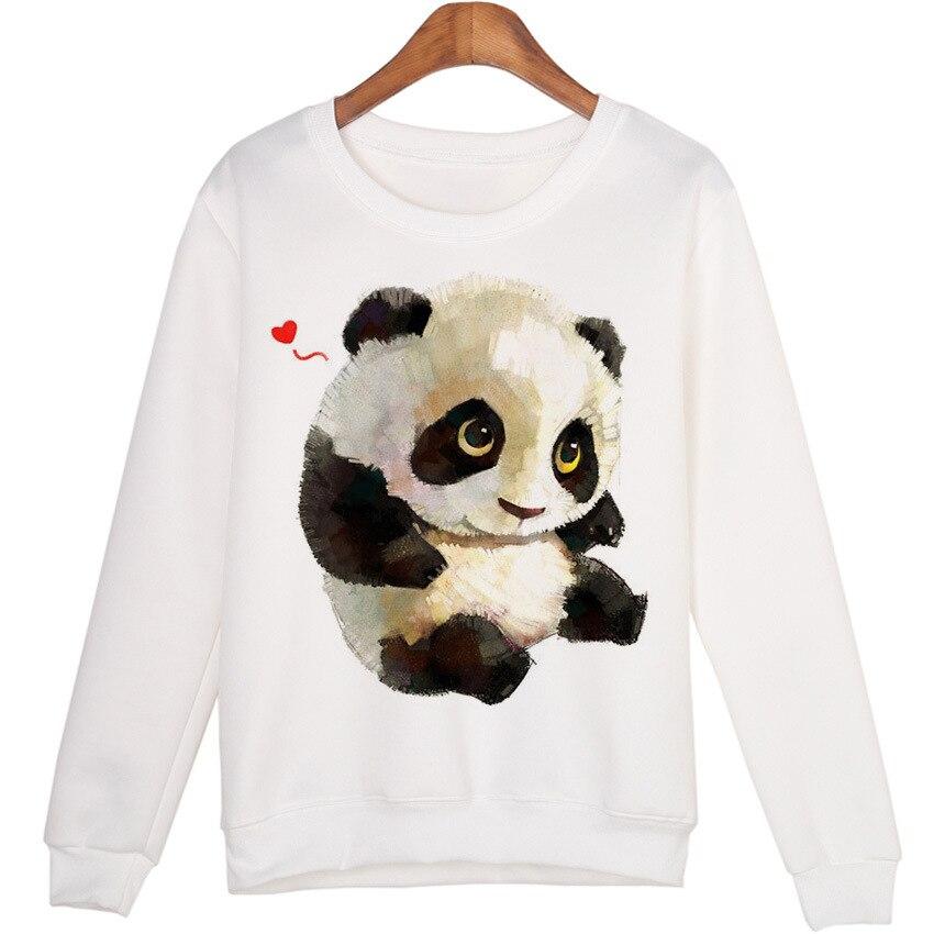 Cute Panda Print Hoodies Women Girls Cartoon Long Sleeve O-Neck Sweatshirt White Fashion Pullover Hooded Coat New Spring Tops
