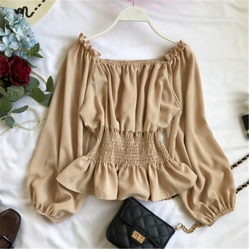 2019 summer new lantern sleeve chiffon women blouse and shirts solid slim sexy slash neck ruffles lady shirts outwear tops Z1698 2
