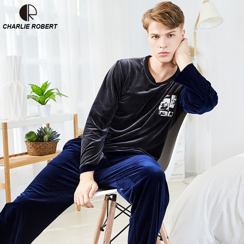 Gold Velvet Winter Men Pajama Sets Thicken Flannel O-Neck Solid Casual Loose Home Clothes Winter Warm Suit Two Piece Lingerie