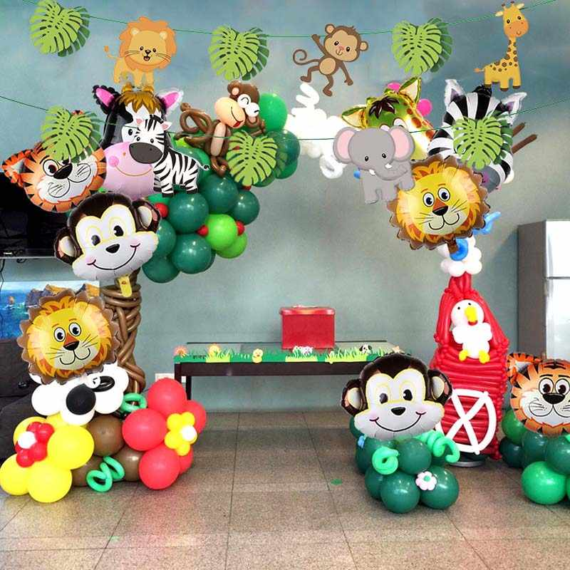 Jungle Party Safari Theme Birthday Supplies Disposable Tableware Set Zoo Animals Boy 1st Baby
