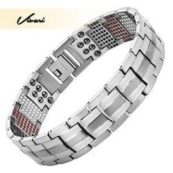 Vivari Для мужчин здоровья магнитный браслет для Для мужчин посеребренные Pure Титан браслет магнитный ионов Германий далеко Infar красный Брасле...