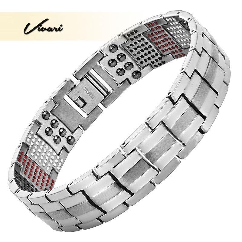 Vivari Trendy Magnetic Silver Plated Titanium Bracelet For Men Bangle 4in1 -ve Ions Germanium Far Infar Red Bracelets 2018