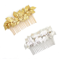Dower Me Vintage Gold Silver Leaf Hair Comb Leaves Combs Headpieces Bridal Hair Accessories Jewelry For