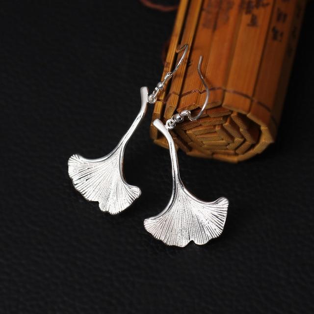 Купить висячие серьги с листьями гинкго из стерлингового серебра 925 картинки