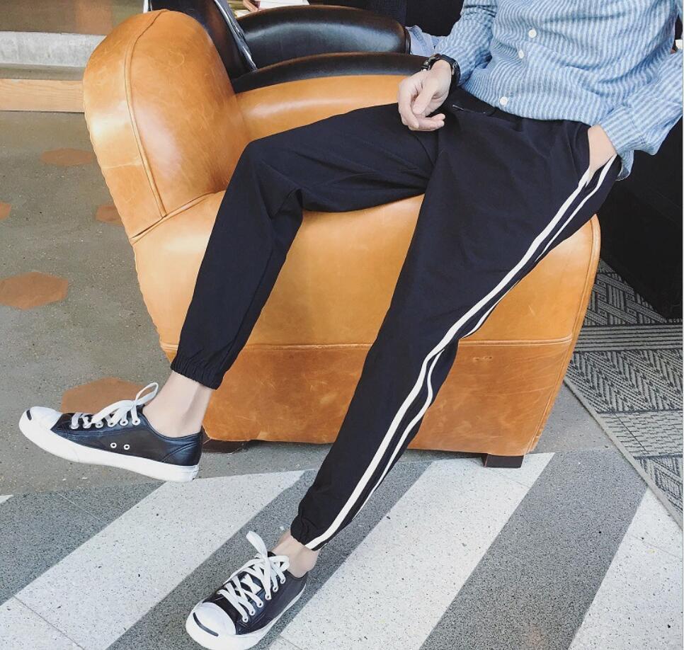 Oscuro hop Nueva Laterales 2018 Trajes Moda Letras Tamaño Flojos Hombres Cantante Hip Pantalones Otoño Ocasionales Color Rayas De Más Negro Elásticos gris Los qdwTdp4Bx