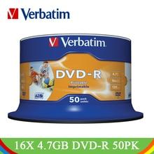 Dvd-приводы Verbatim Write 16X4,7 GB для печати DVD-R пустой диск Bluray белый струйный записываемый CD-диск компактный для портативных ПК