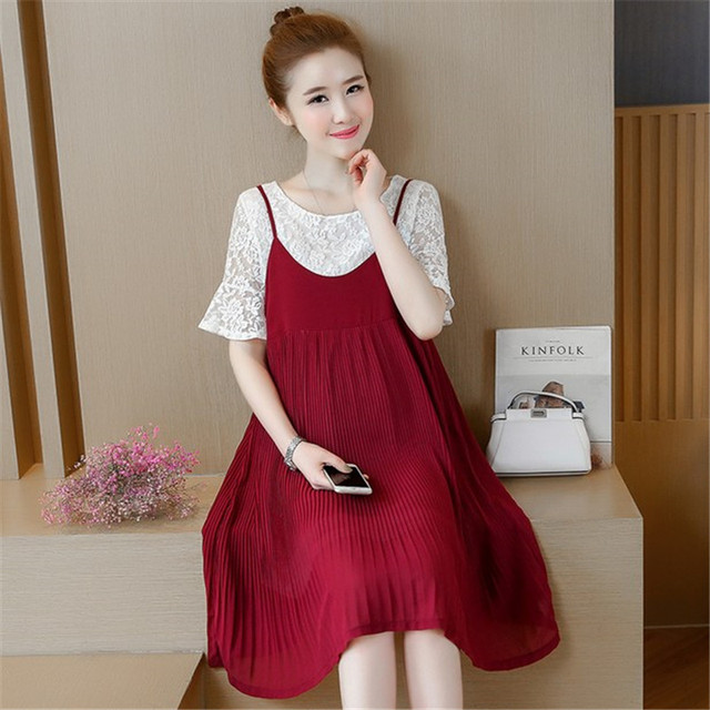 c672561dbca04 Fashion Pregnant Women Loose Large Lace Pregnancy Dress Two Pieces Short  Sleeve Summer Maternity Clothes Red and Black Dresses