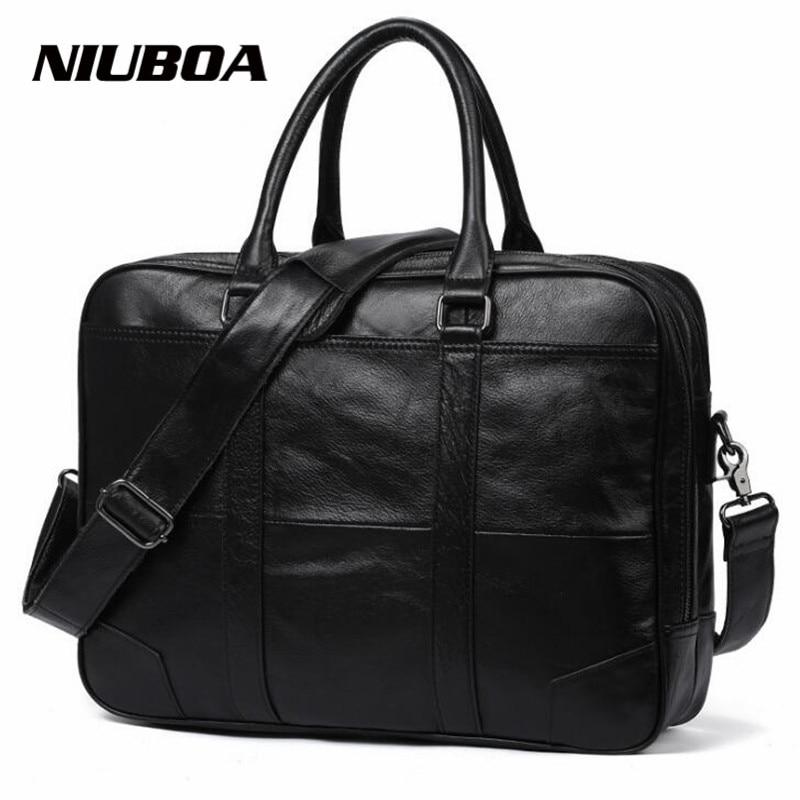 NIUBOA New Men Briefcases Genuine Leather Handbag Vintage Laptop Briefcase Messenger Shoulder Bags Men's Bag Skin Leather Bags все цены