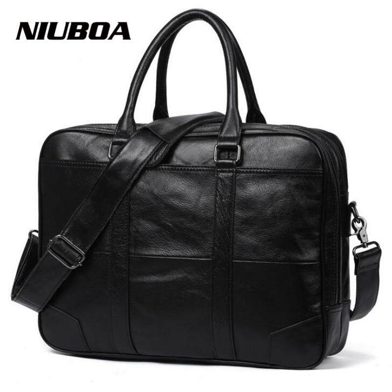 NIUBOA New Men Briefcases Genuine Leather Handbag Vintage Laptop Briefcase Messenger Shoulder Bags Mens Bag Skin Leather Bags