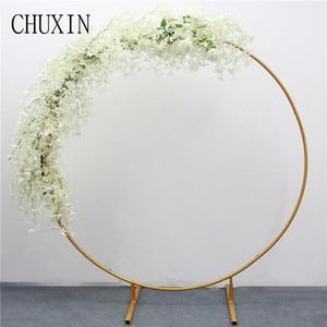 Image 3 - 200cm מלאכותי יצוק ברזל עגול טבעת קשת דלת דקור סימולציה פרח שורה בית חג חגיגת חתונה צילום 1pc