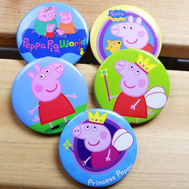 Peppa Pig Badge Birthday Party Decorations Kids Anime Figure Cartoon Small Badges For Clothes Party Dress Boys Girls Toys P09