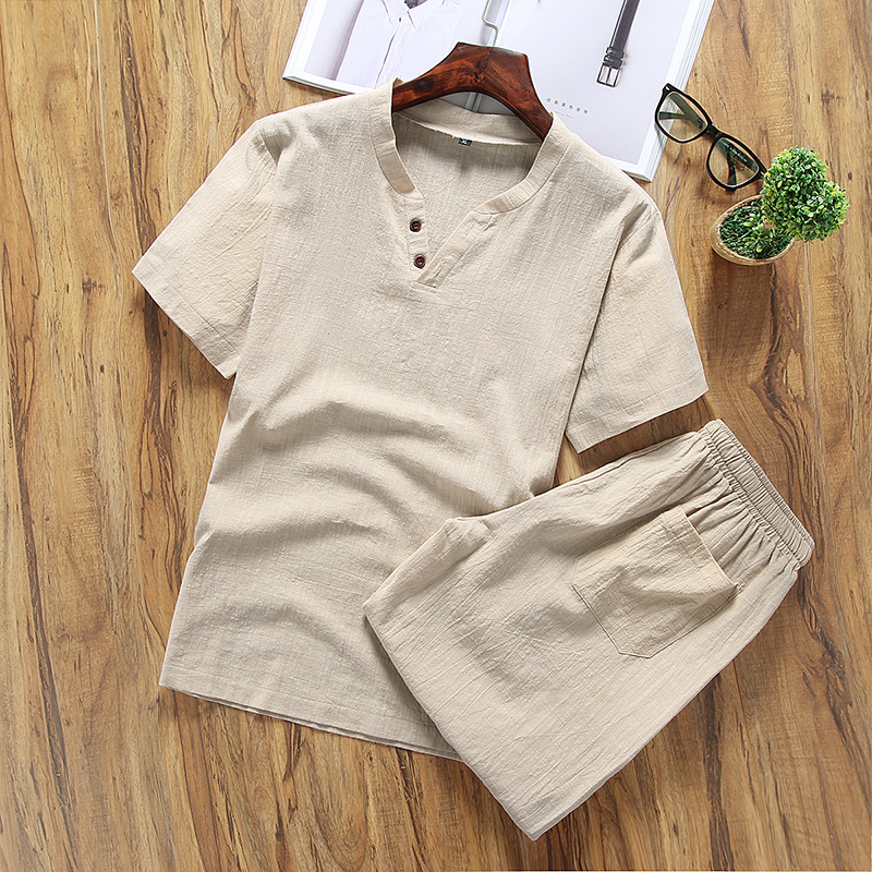 Cotton and Linen New Men's Linen 2 Piece Sets Short Sleeve Summer Brand Vintage V Neck Linen Suits For Men (T-shirt+shorts) A24(China)