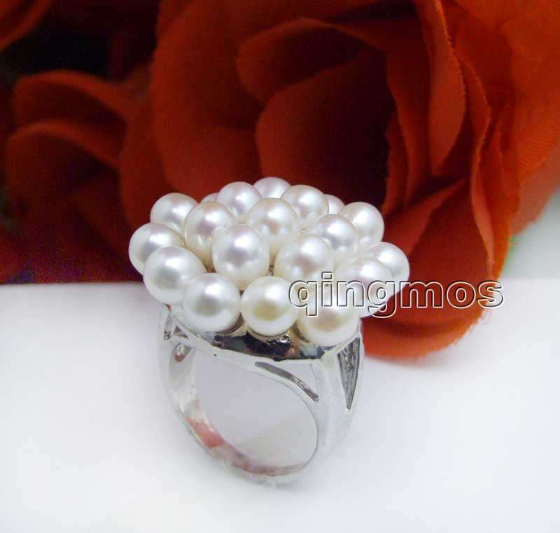 New Fashion Women Jewelry Gift 25mm White Rice Natural Pearl Flower #9 Ring-rin26