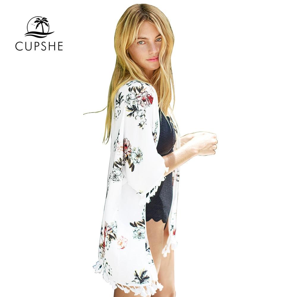 CUPSHE Chiffon Floral Print Tassels Kimono Bikini Cover Up Swimsuit Women 2020 Summer Beach Bathing Suit Beachwear Tunic Shirt 3