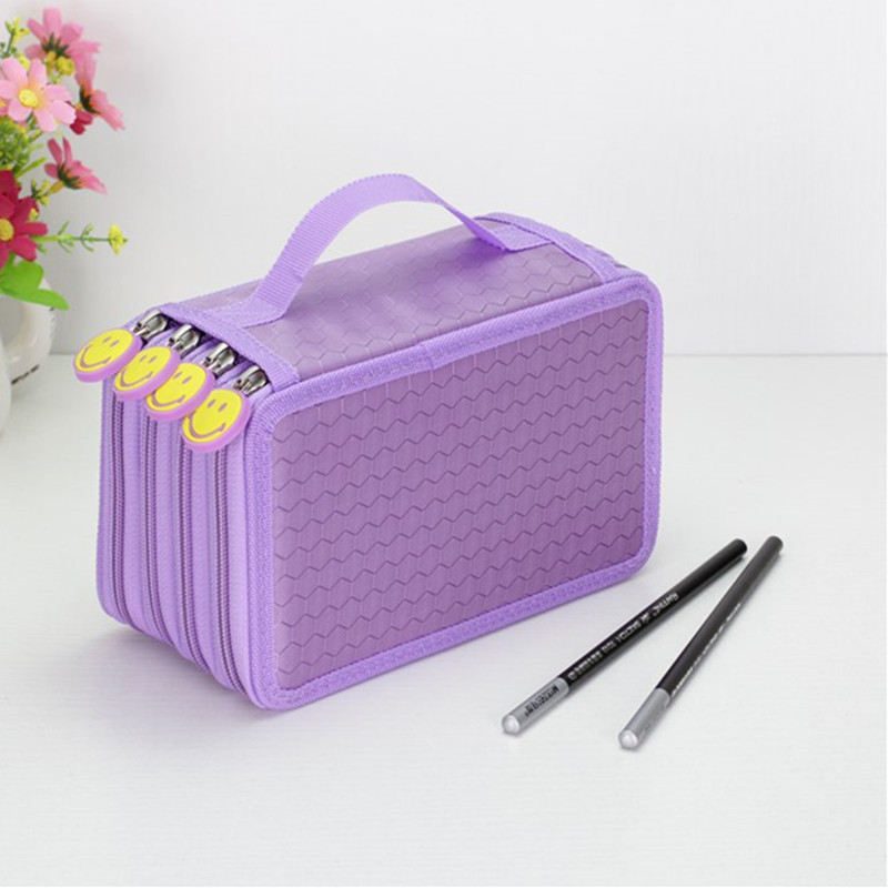 цены  Korean Stationery Cartoon Pencil Bag Oxford Cloth Boys Girls Brush Box 72 Holes Sketch Pencil Case 6 Colors Available Penalt