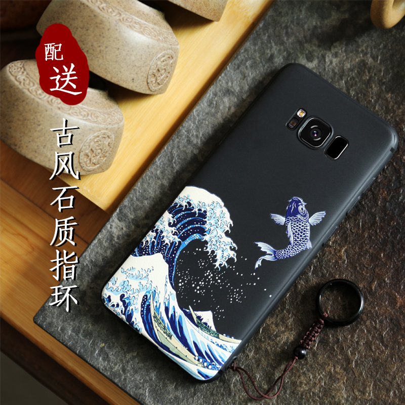 Image 3 - Great Emboss Phone case For samsung galaxy S10 PLUS S10 S10e S10+ cover Kanagawa Waves Carp Cranes 3D Giant relief caseFitted Cases   -