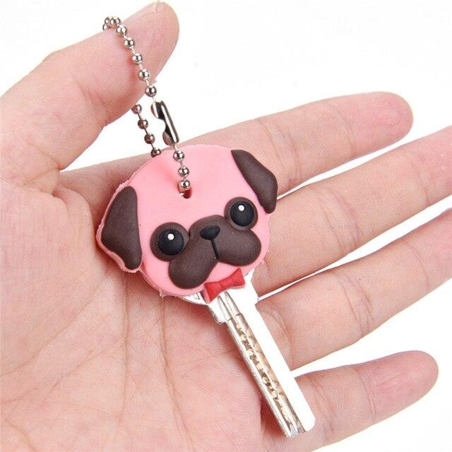 Silicone Key Ring Cap Case Lovely Animals Head Shape Keychain Shell Cat Hamster Pug Dog  Desk Sets School Stationery