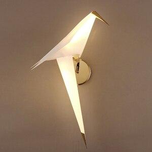 Image 3 - IKVVT LED الطيور تصميم الجدار مصباح أباجورة الإبداعية اوريغامي ورقة رافعة الجدار الخفيفة لغرفة نوم علوي دراسة بهو غرفة الطعام