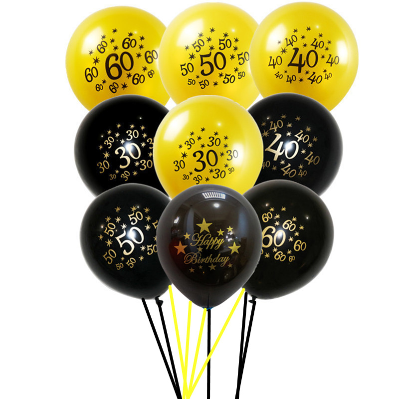 10pcs 12inch Gold Latex Balloons Air Black 30 40 50 60 <font><b>70</b></font> Years Happy <font><b>Birthday</b></font> Party <font><b>Decorations</b></font> Adult Foil Helium Balloon A034 image