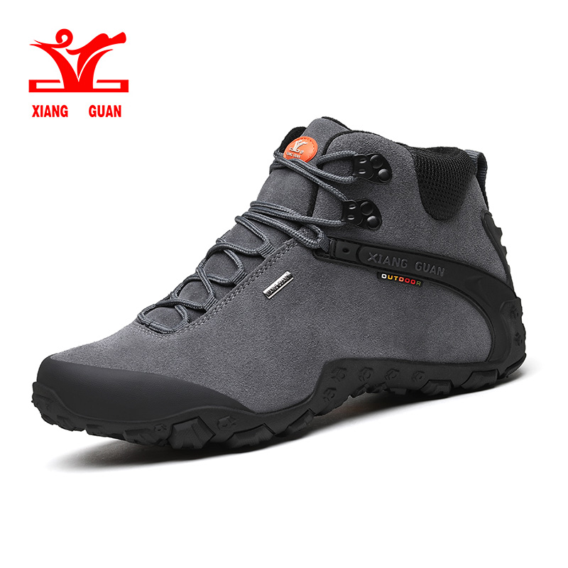 XIANG GUAN 2018 man High Top Brand Hiking Shoes Outdoor Boots Hiking Trekking Sneakers natural Leather Mountain Shoes SIZE 39-48 фен luazon lf 21 black red 1134640