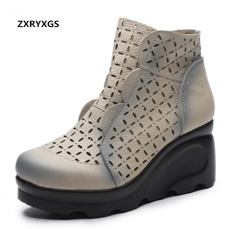 2019 New Flower Hollow Cool boots Genuine Leather Shoes Woman Sandals Platform Wedges sandals Women Shoes