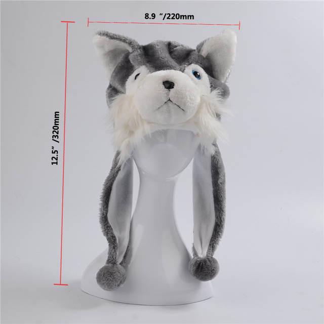 8fbf1689b4b Husky Wolf Dog Cotton Cartoon Plush Toys Hats Animal Plush Hat Caps  Christmas Present