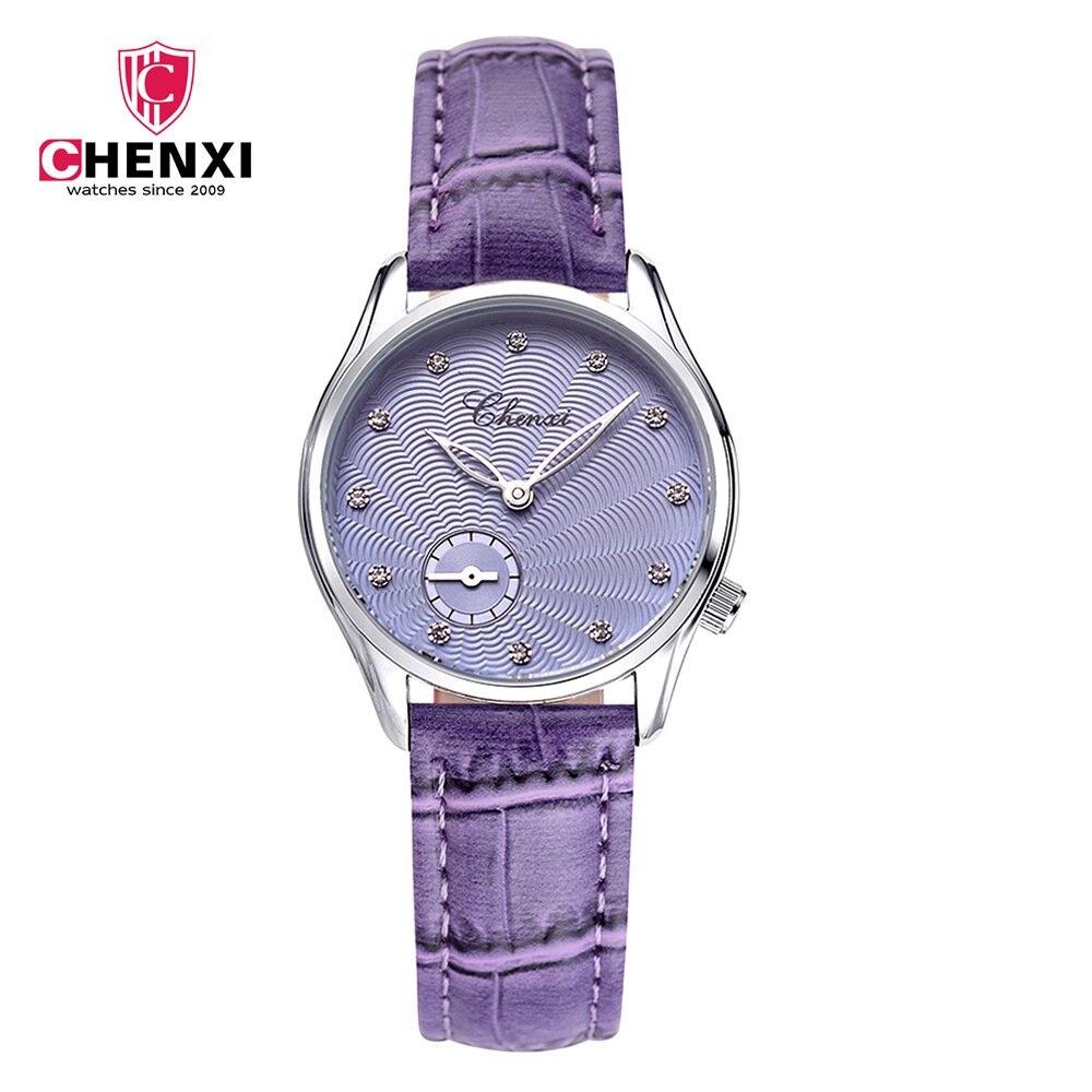 Luxury Brand CHENXI Women Dress Watches Elegant Rose Gold Purple Leather Strap Unique Fashion Casual Business Lady Wristwatch