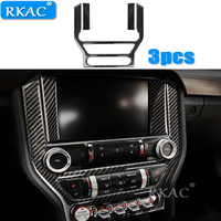 RKAC 3pcs For ford mustang accessories mustang GT control Center Console carbon fiber car interior trim Body stickers 2015 2017