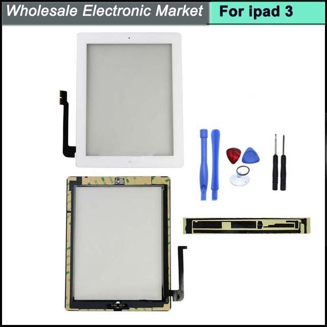 Tela de toque digitador para ipad 3 3Gen + 3 M adesivo + botão home + câmera + ferramentas completa para ipad3 painel branco