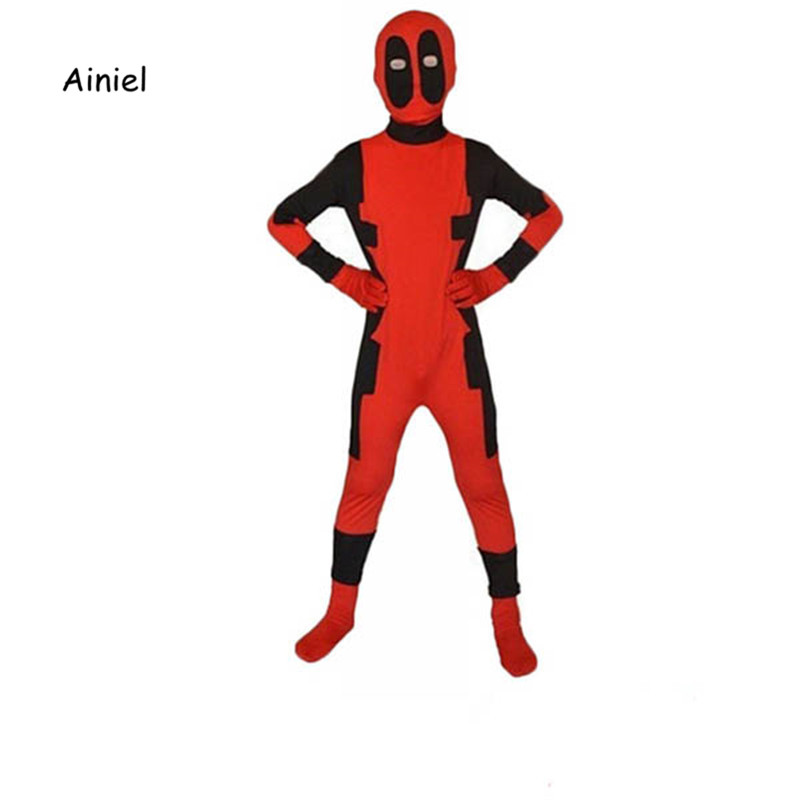 Ainiel Cool Kids Deadpool 2 Costume Red  Bodysuit  Lycra  Boy Girl Deadpool Cosplay Suit  Halloween Party Jumpsuit Zentai