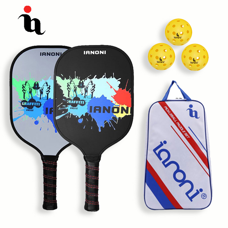 IANONI Brand Pickleball Racket Set Ink Jet Pattern Carbon Fiber Composition PE Honeycomb Core Pickleball Bag 2 Pickleball Paddle ink jet printing leaves pattern window curtains 52 x 96 inch