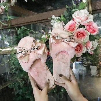 COOTELILI mujer de Zapatillas de casa con imitación de piel caliente zapatos de mujer resbalón en pisos lindo Bowtie mujer diapositivas Plus tamaño 41