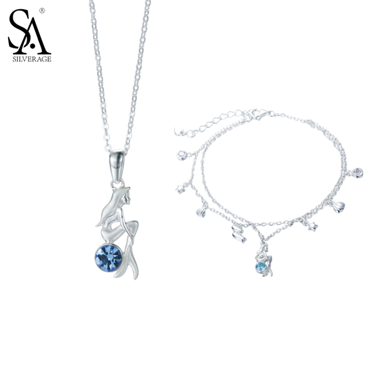 SA SILVERAGE 925 Sterling Silver Women Jewelry Sets Mermaid Pendant Necklaces Chain Bracelet Blue AAA CZ Jewelry Party Gifts sa silverage real 925 sterling silver crystal key necklaces pendants for women silver chain pendant necklaces wedding gifts