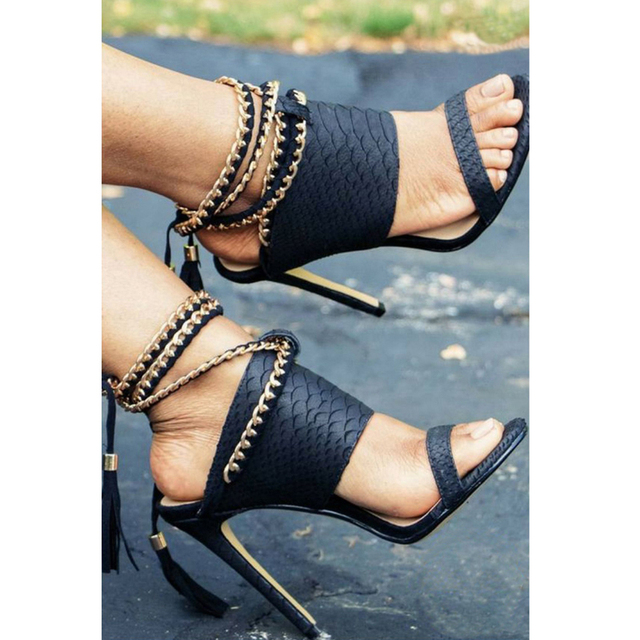 Teahoo Summer Gold Chain Gladiator Sandals Women Ankle Strap Fringe High  Heels Sandals Women Fashion Black 4e2190c1dd07