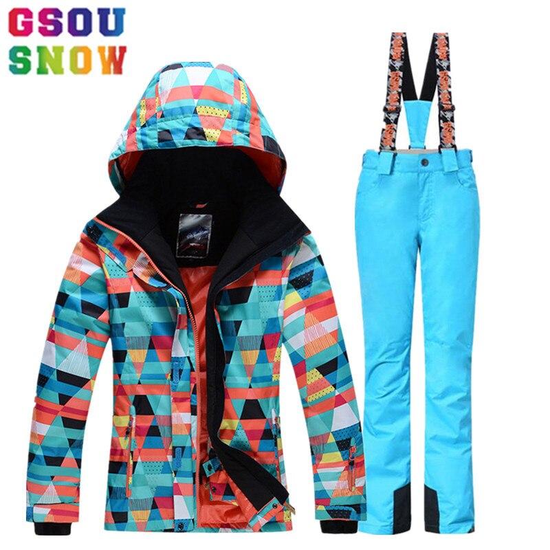 Gsou Snow marque combinaison de Ski extérieur femme veste de Ski d'hiver + pantalon de ski imperméable combinaison de Ski de montagne ensembles de Snowboard vêtements de Sport