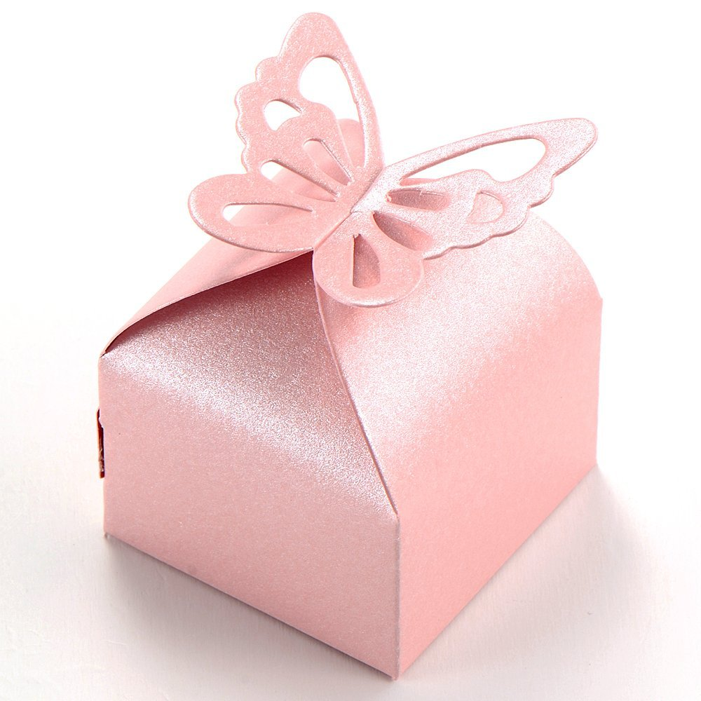 Practical Boutique 50pcs Pink Butterfly Decoration Boite a Dragees Wedding Decoration Gift Candy Box Baptism Birth Rose