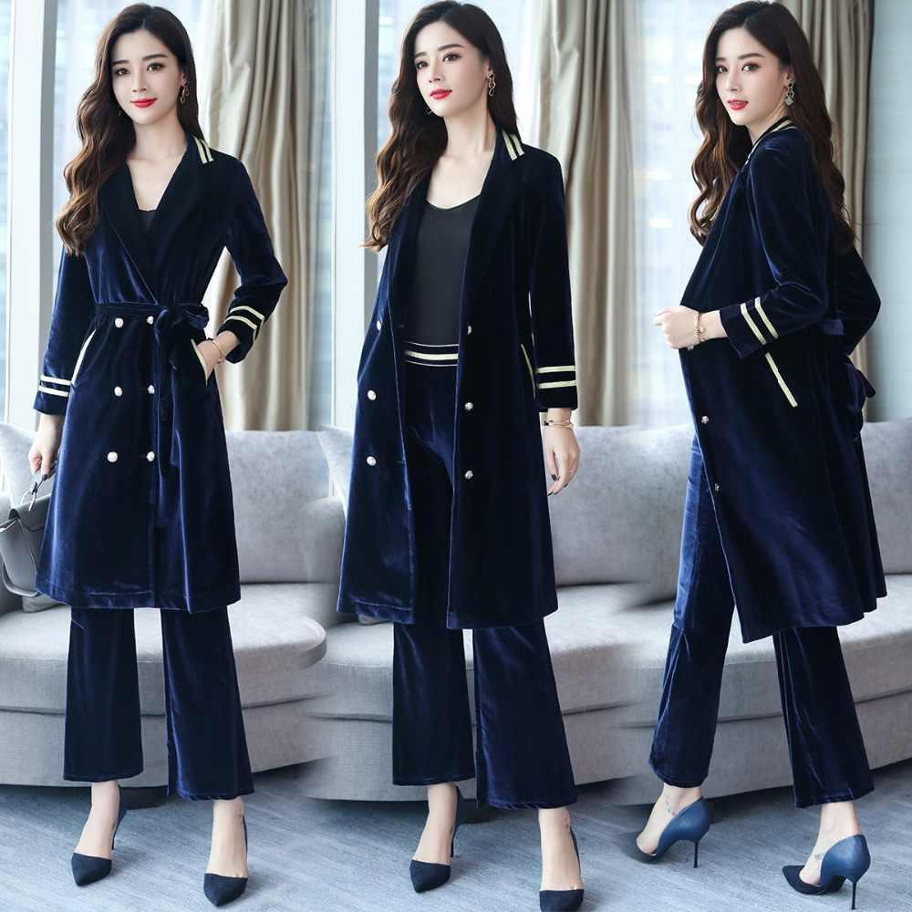 女性ビジネススーツ金のベルベットのブレザーとズボン作業服を設定します。正式なパンツスーツオフィスレディ制服パンツスーツ