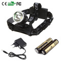 1800Lm Cree XM-L T6 LED Headlamp Head light Bicycle light Camping +2pcs 18650 4000mah battery +Charger