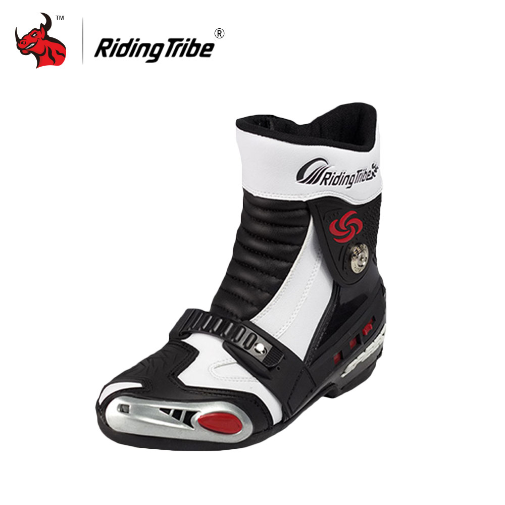 Riding Tribe Moto Racing PU Leather Motorcycle Boots Moto Racing Motocross Off-Road Mid-Calf Motorbike Shoes Black/White/Red riding tribe motorcycle waterproof boots pu leather rain botas racing professional speed racing botte motorcross motorbike boots