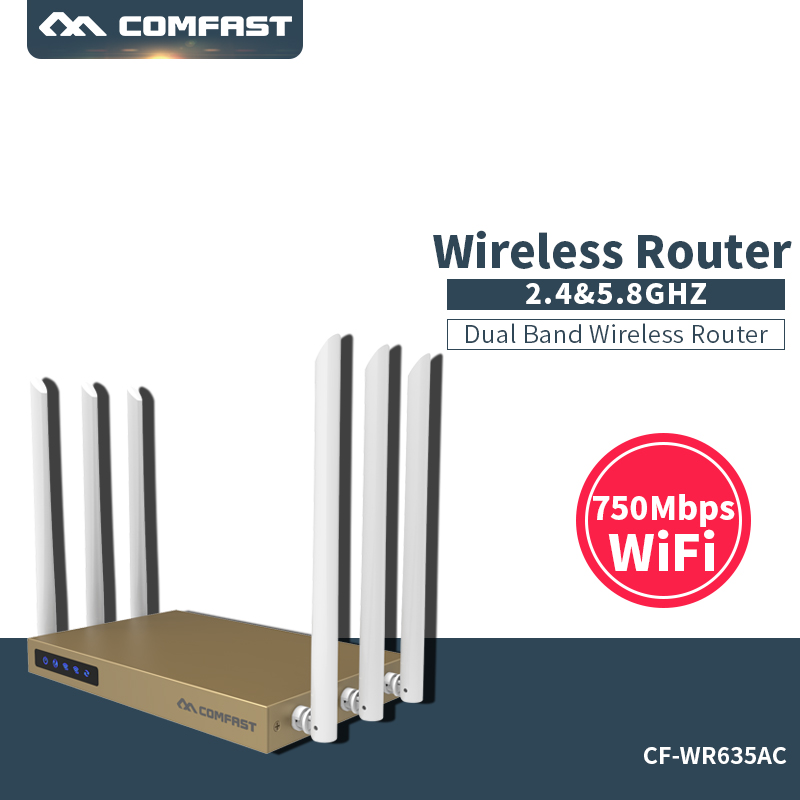 COMFAST 2.4G+5G Dual Band high power 750M router with 6*6dBi antenna wifi 128MB 802.11ac wireless wi fi router 600sq.m coverage new tp link wdr7400 1750mbps 11ac 6 antenna fast wifi extender wireless dual band router for home computer networking