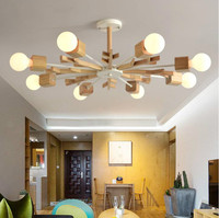 New Arrival LED Chandelier Wooden Lustres For Living Room Wood Dining Lights Modern Ceiling Mounted Chandeliers Lighting