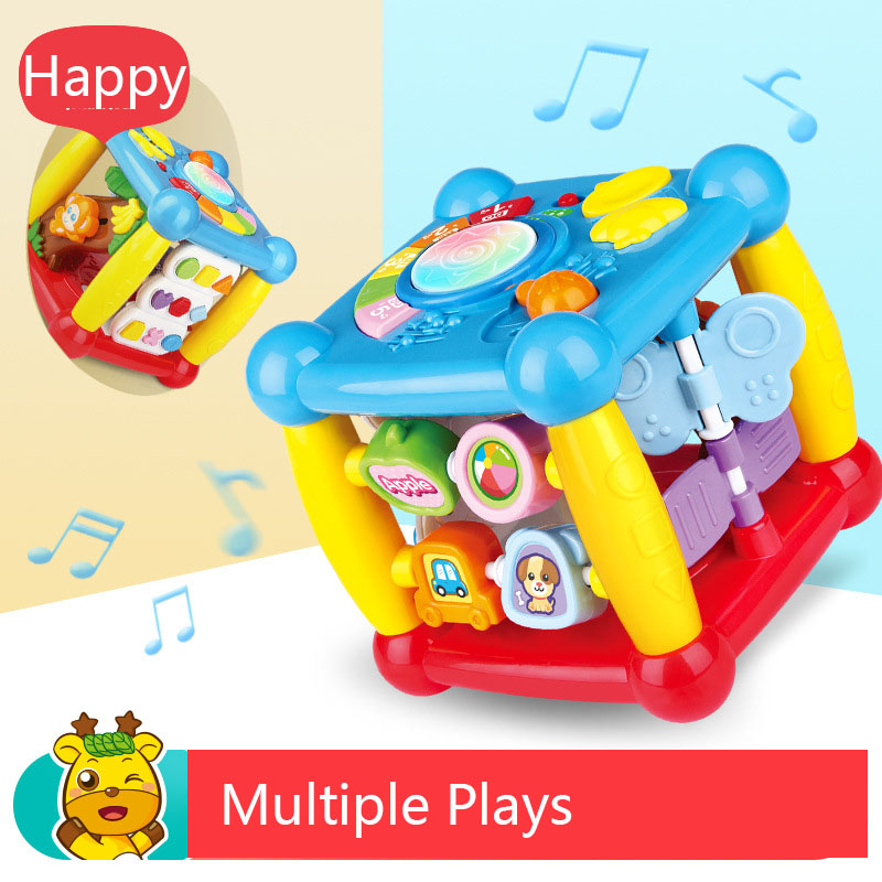 Hexahedral Multi-function Cube Music Toy Piano Keys Beat Drum Alphabet Learning Monkey Sliding Game Baby Kid Educational Gift